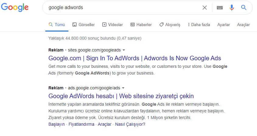 Arama ağı reklamı