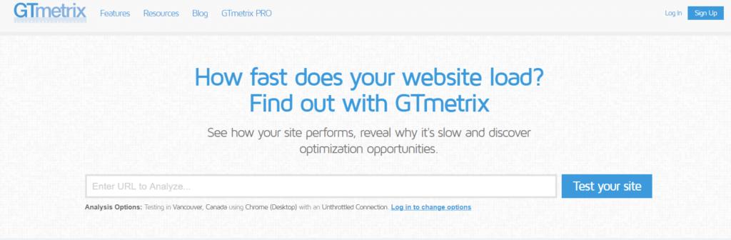 gtmetrix site hız ölçme